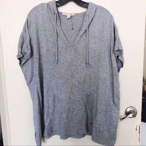 NWOT Michael Kors Gray Short Sleeve Sweater Hoodie